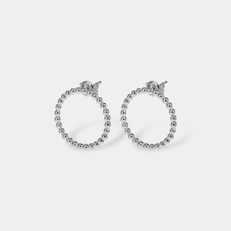 CLUSE Essentielle Silver Open Circle Embellished Stud Earrings CLJ52007 - Pendientes