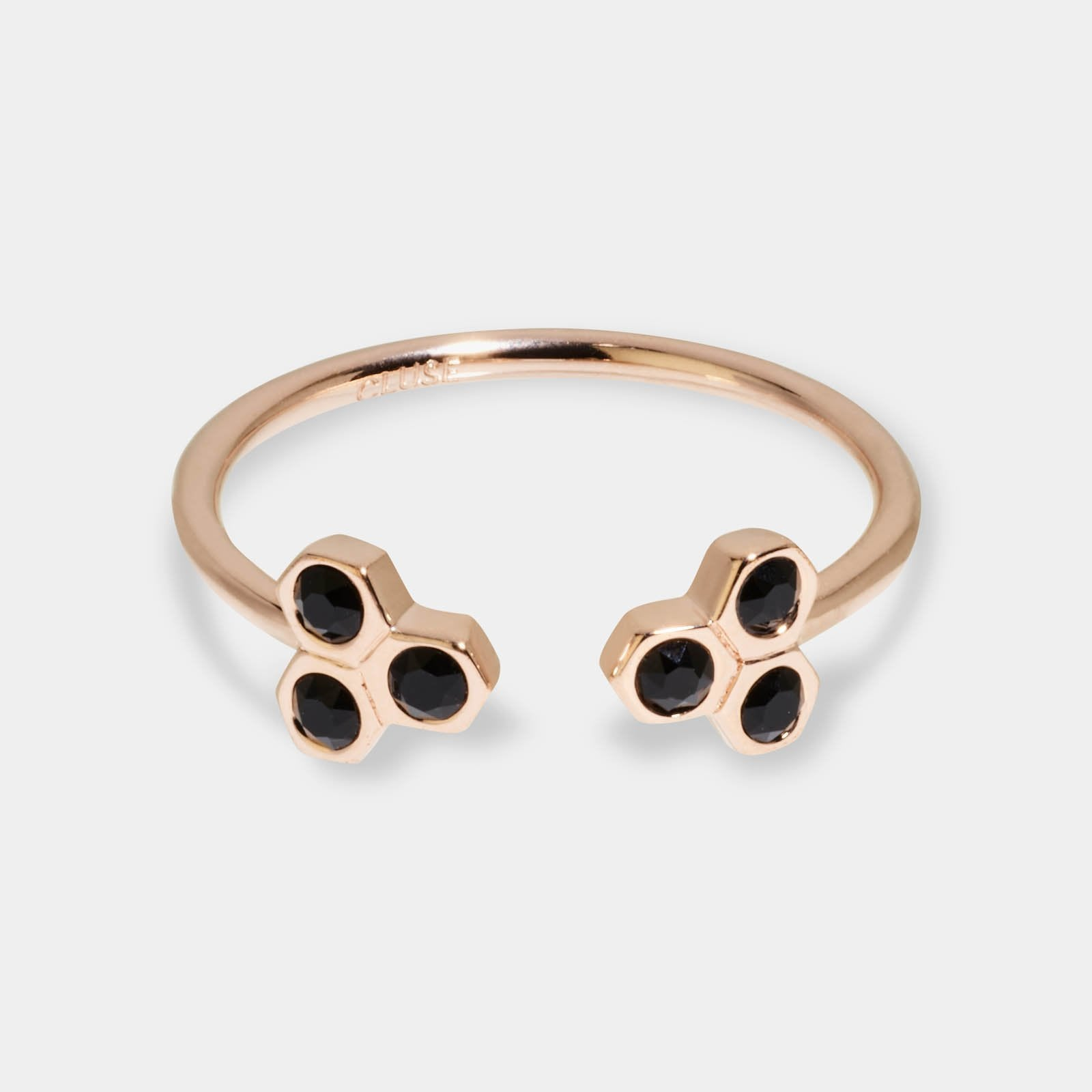 CLUSE Essentielle Rose Gold Black Crystal Hexagons Open Ring CLJ40008-54 - Anillo talla 54