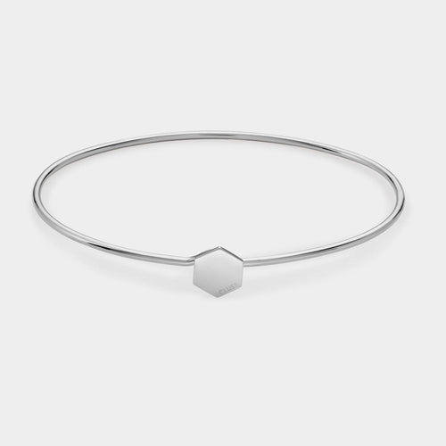 Image: CLUSE Essentielle Silver Hexagon Bangle Bracelet CLJ12001 - Pulsera