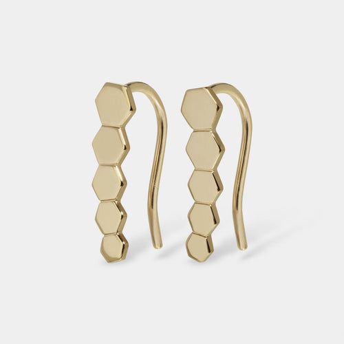 Image: CLUSE Essentielle Gold Hexagon Ear Climber Earrings CLJ51010 - Pendientes
