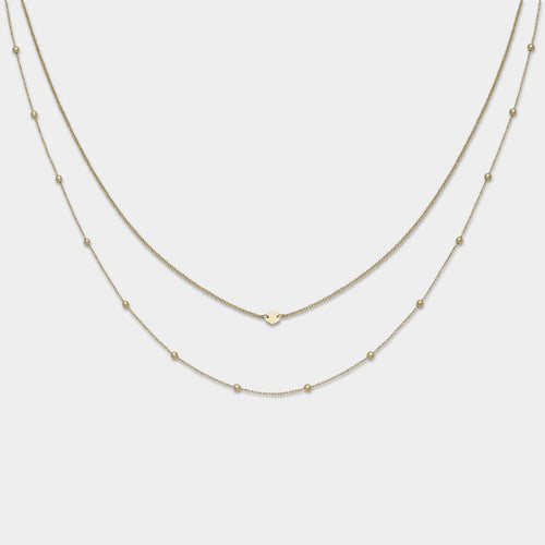 Image: CLUSE Essentielle Gold Set of Two Necklaces with Petite Hexagon CLJ21004 - Collar