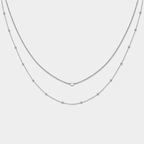 Image: CLUSE Essentielle Silver Set of Two Necklaces With Petite Hexagon CLJ22004 - Collar