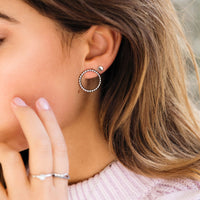 CLUSE Essentielle Silver Open Circle Embellished Stud Earrings CLJ52007 - Pendientes en la oreja