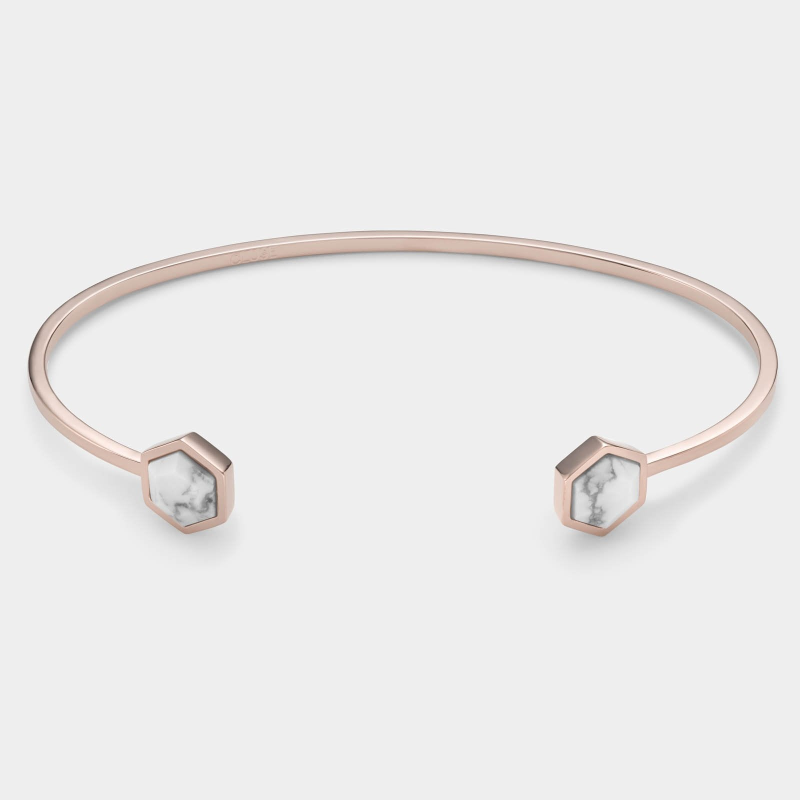 CLUSE Idylle Rose Gold Marble Hexagons Open Cuff Bracelet CLJ10003 - Pulsera
