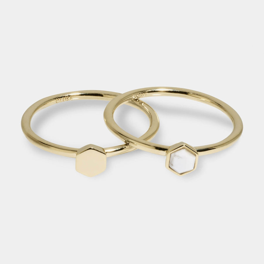CLUSE Idylle Gold Solid And Marble Hexagon Ring Set CLJ41001-54 - Set de anillos talla 54