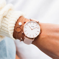 CLUSE Strap 18 mm Leather Pink/Rose gold CS1408101003 - Correa de reloj en la muñeca
