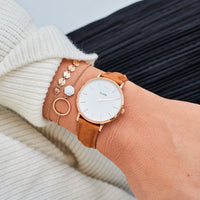 CLUSE Strap 16 mm Leather Caramel/Rose Gold CS1408101025 - Straps on wrist
