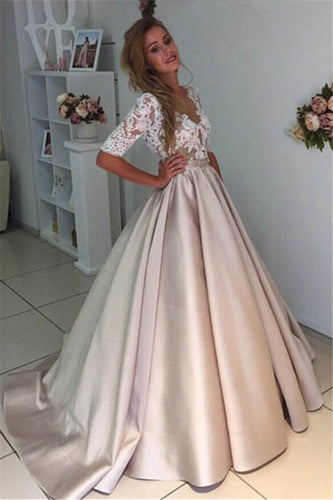 1/2 Sleeve Deep V Neck Satin Floor-Length Wedding Gown With Lace Top