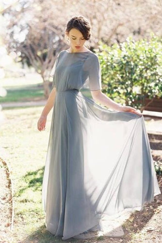 Gray Chiffon Bateau Neck Open Back A-Line Floor-Length Prom Bridesmaid Dress