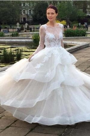 Sheer-Illusion Tiered Long-Sleeved Backless Wedding Gown