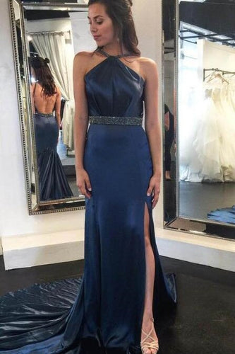Dark Navy Satin Strap Backless Split Prom Dress With Belt