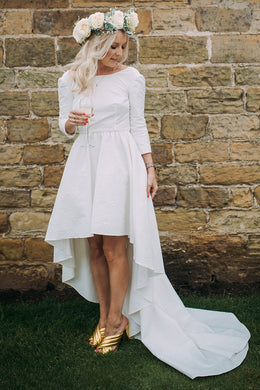 2/3 Sleeved Hi-Lo White Jersey Wedding Dress With A Plunging V-Back