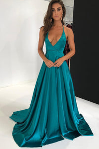 Spaghetti Straps Plunging Neck Sleeveless Long Solid Slit Satin Prom Dress with Sweep Train