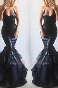 Alluring Black Spaghetti Strap Halter Deep V Neck Mermaid Dress with Sequins