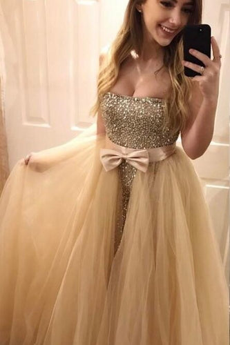 Sheath Strapless Floor-Length Sequin Prom Dress With Detachable Overskirt