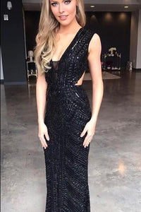 Black Plunging V-Neck Sweep Train Sequin Sheath Prom Dress