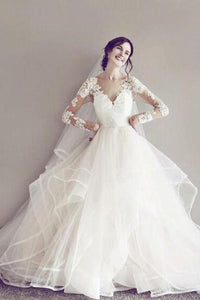 Impressive Sheer-Illusion Long-Sleeved Lace Tulle Wedding Dress With A Flaring Skirt
