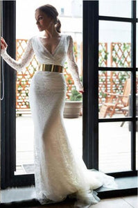 Long Sleeve V-Neck Lace Illusion Mermaid Wedding Dress With Metallic Belt