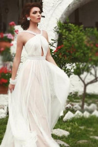 A-Line Strap Floor-Length Pleated Chiffon Formal Dress With Beads