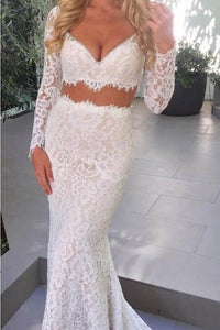 White Two-Piece Open-Neck Open-Back Long-Sleeved Lace Mermaid Wedding Dress