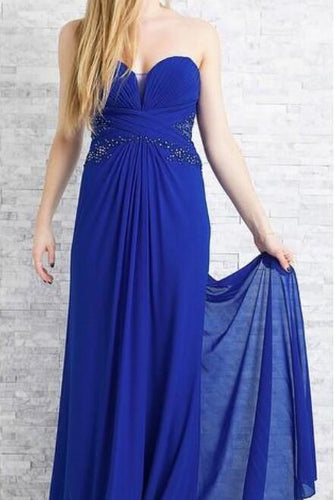 Sheath Strapless Sweetheart Empire Waist Royal Blue Chiffon Formal Dress With Lace & Beads