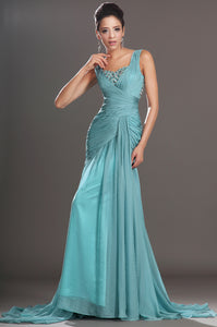 Icy Blue Amazing Details Low Waist Fitted Long Dress With Sweep Train