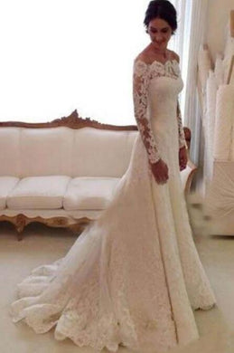 Lace Off-The-Shoulder Long Sleeve Sweetheart Neck Bridal Dress With Sweep Train