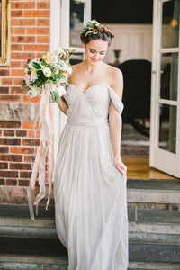 A-Line Chiffon Off-The-Shoulder Floor-Length Bridal Dress