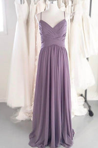 A-Line Column V-Neck Criss-Cross Ruched Dance Bridesmaid Long Dress