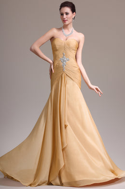 A-Line Fit-And-Flare Ruffled Sweetheart Chiffon Long Dress With Rhinestones