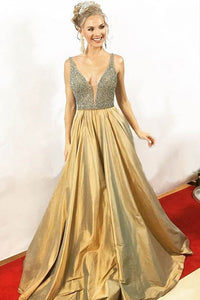 A-Line Gold Ball-Gown With Beaded V-Neck Bodice And A-Line Long Skirt