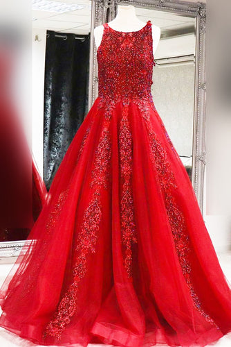 A-Line Jewel Neck Floor-Length Red Tulle Prom Dress With Applique