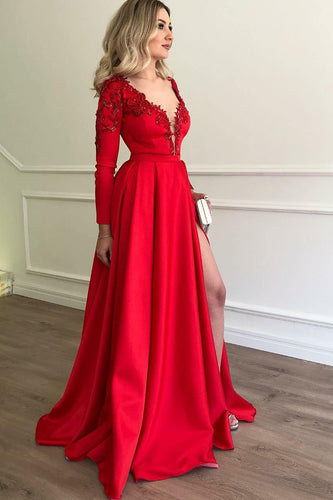 A-Line Red Satin Plunging V-Neck Long Sleeve Sweep Train Prom Dress With Sequins
