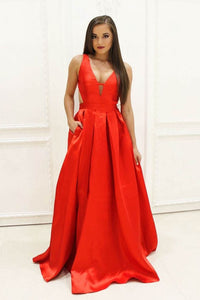 A-Line Red V-Neck Cut-Outs Jersey Evening Gown With Open Back