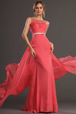 A-Line Sheer-Illusion Beaded Floor-Length Chiffon Dress With Back Streamer