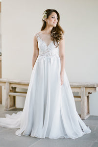 A-Line Sheer Neck Organza Sweep Train Wedding Dress With Lace Bodice