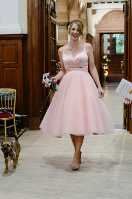 A-Line Spaghetti Strap Tea-Length Pink Tulle Bridesmaid Dress