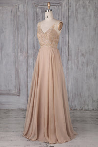A-Line V-Neck Floor-Length Chiffon Bridesmaid Dress With Applique