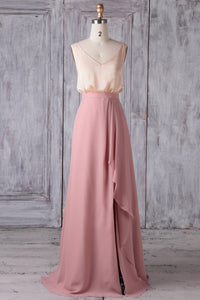 A-Line V-Neck Floor-Length Pink Chiffon Bridesmaid Dress With Ruffles