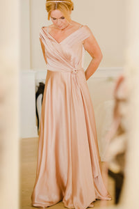 A-Line V-Neck Floor-Length Pink Satin Bridesmaid Dress