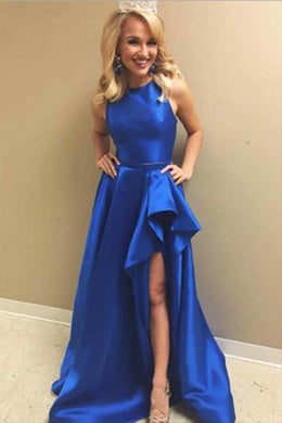 Adorable Royal Blue Sleeveless Jewel Neck High-low Evening Dress