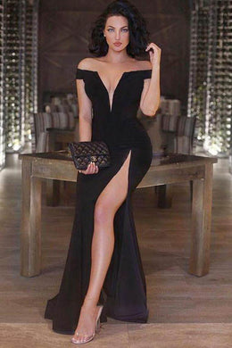 Alluring Black Off-the-shoulder Plunging V Neck A-line Dress with Sexy Side Slit