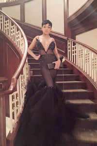 Alluring Black Plunging V Neck Mermaid Evening Dress With Beads Embellishment