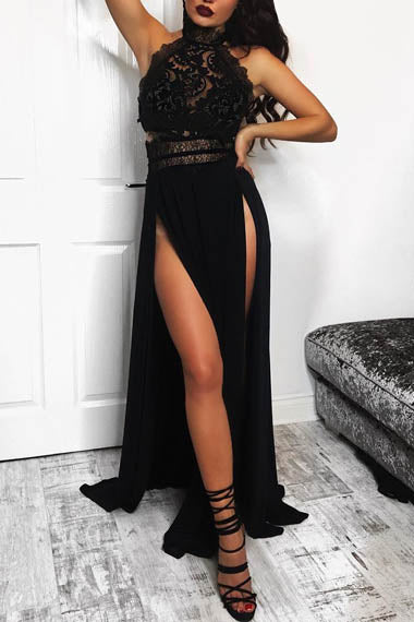 Alluring Black Sleeveless High Halter Neck A-line Evening Dress with Side Slits