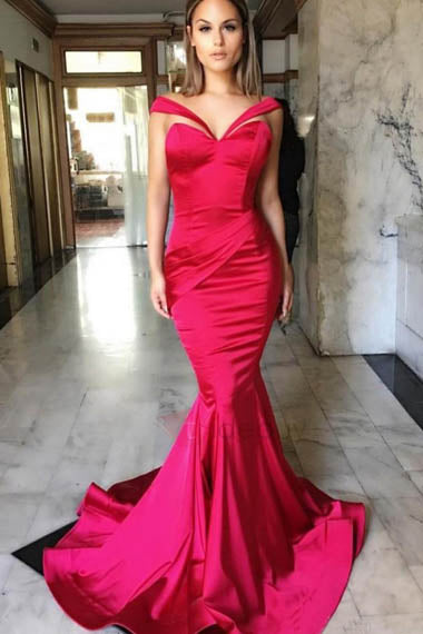 Alluring Burgundy Off-the-shoulder Deep V Neck Mermaid Dress with Sweep Train