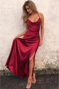 Alluring Burgundy V Neck Spaghetti Straps Lace-up Back Evening Dress With Side Slit