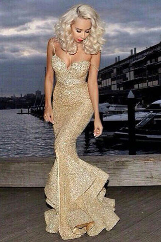 Alluring Gold Spaghetti Straps Deep V Neck Mermaid Evening Dress with Sequins