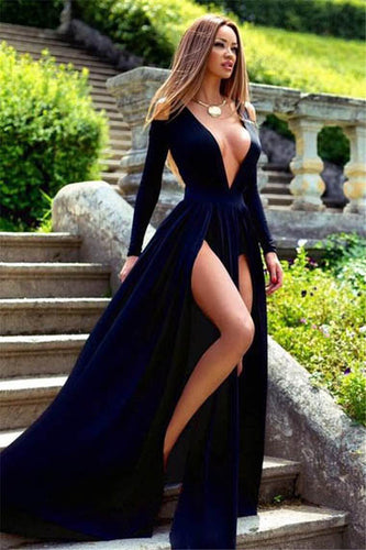 Alluring Long Sleeves Plunging V Neckline Evening Dress with Double High Slits