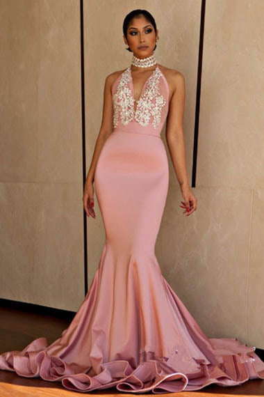 Alluring Pink Sleeveless Halter Plunging V Neck Mermaid Evening Dress with Appliques