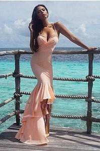 Alluring Pink Spaghetti Straps Deep V Neck High-low Mermaid Evening Dress